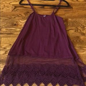 Tops - tank top with lace on the bottom